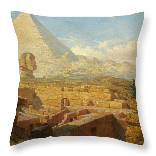 Pyramid Throw Pillow featuring the painting The Pyramids by William James Muller