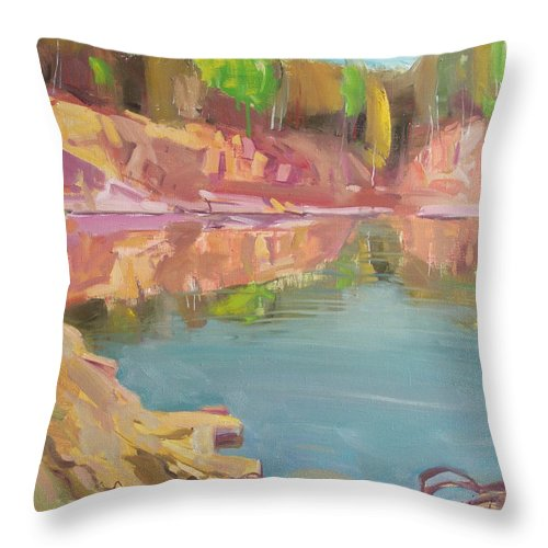 Oil Throw Pillow featuring the painting The Quarry by Sergey Ignatenko