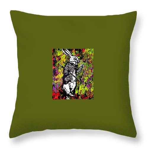 Throw Pillow featuring the painting The Rabbit by Nevets Killjoy