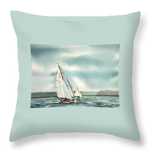 Sailing Throw Pillow featuring the painting The Race by Gale Cochran-Smith
