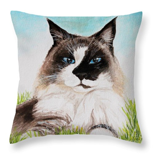 Pet Throw Pillow featuring the painting The Ragdoll by Elizabeth Robinette Tyndall