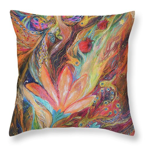Original Throw Pillow featuring the painting The Rainbow's Daughter by Elena Kotliarker