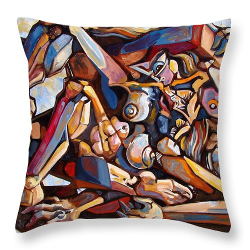 Surrealism Throw Pillow featuring the painting The Rape by Darwin Leon