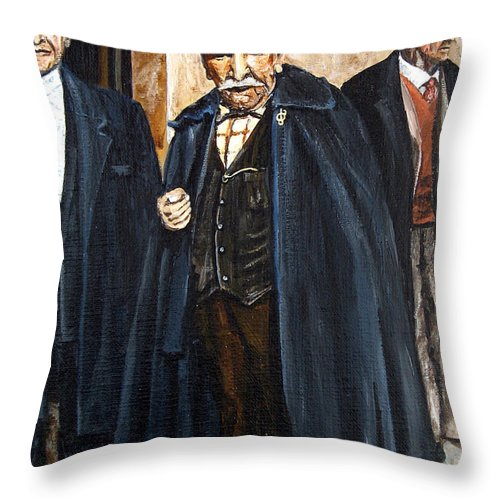 People Throw Pillow featuring the painting The Real Godfather by Leonardo Ruggieri