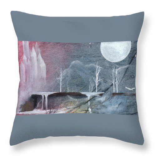 Castle Throw Pillow featuring the painting The Realm of Queen Astrid by Jackie Mueller-Jones