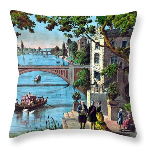 Benjamin Franklin Throw Pillow featuring the painting The Reception Of Benjamin Franklin In France by War Is Hell Store