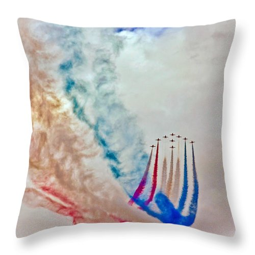 Dartmouth Throw Pillow featuring the photograph The Red Arrows by David John Martin