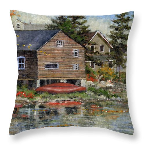 Autumn Throw Pillow featuring the painting The Red Canoe by Richard De Wolfe
