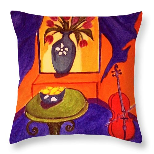 Cello Throw Pillow featuring the painting The Red Cello by Rusty Gladdish