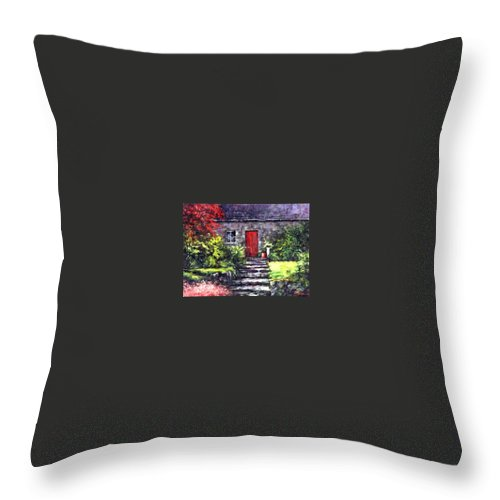 Ireland Throw Pillow featuring the painting The Red Door by Jim Gola
