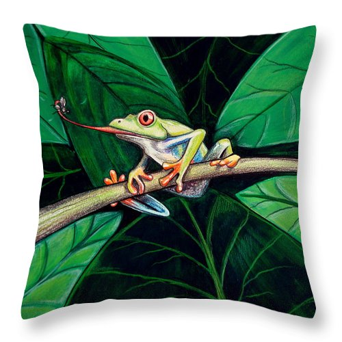 Frog Throw Pillow featuring the painting The Red Eyed Tree Frog by Elizabeth Robinette Tyndall