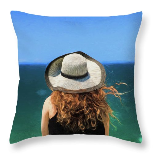 Red Headed Girl Throw Pillow featuring the photograph The red headed girl in a hat by Sheila Smart Fine Art Photography