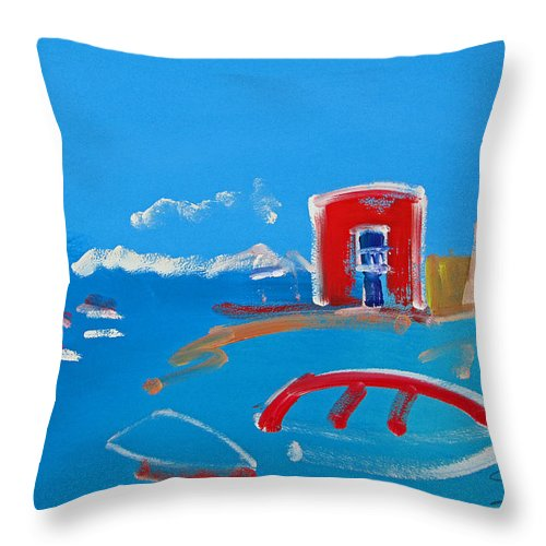 Puerto Throw Pillow featuring the painting The Red House La Casa Roja by Charles Stuart