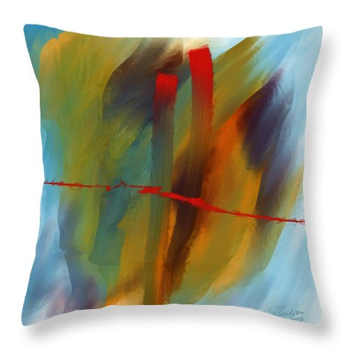 Red Abstract Lines Soft Moves Air Water Throw Pillow featuring the digital art The Red Line by Veronica Jackson