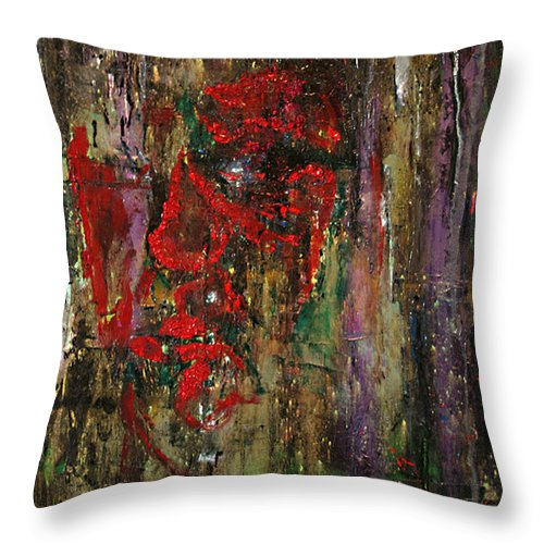 Mask Throw Pillow featuring the painting The Red Mask by Alan Schwartz
