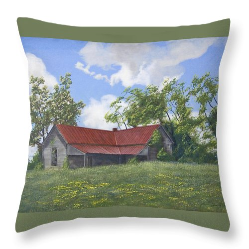 Landscape Throw Pillow featuring the painting The Red Roof by Peter Muzyka