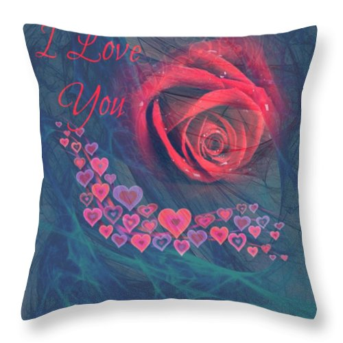 Red Throw Pillow featuring the digital art The Red Rose Of Love by Clive Littin