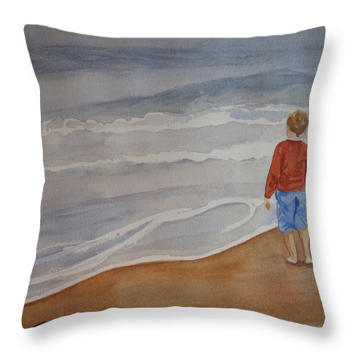 Boy Throw Pillow featuring the painting The Red Shirt by Jenny Armitage