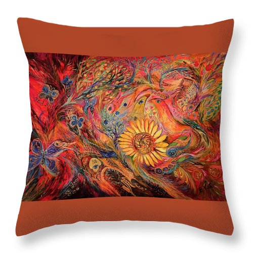 Original Throw Pillow featuring the painting The Red Sirocco by Elena Kotliarker