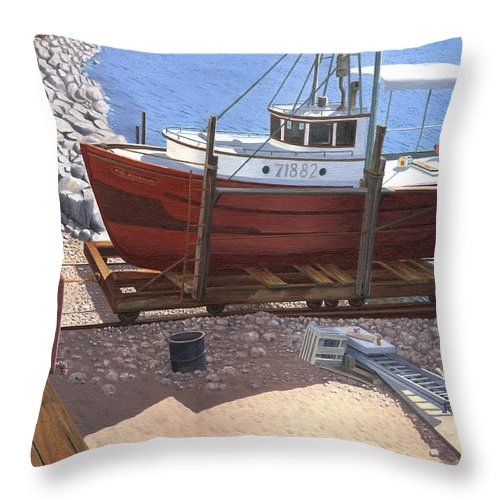 Fishing Boat Throw Pillow featuring the painting The Red Troller by Gary Giacomelli