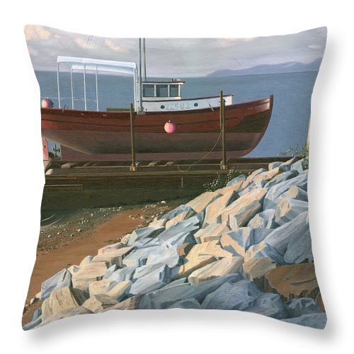 Ship Throw Pillow featuring the painting The red troller revisited by Gary Giacomelli