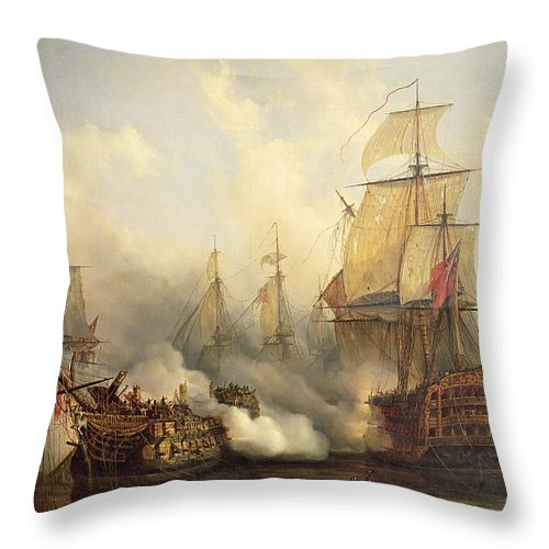 The Throw Pillow featuring the painting Unknown Title Sea Battle by Auguste Etienne Francois Mayer