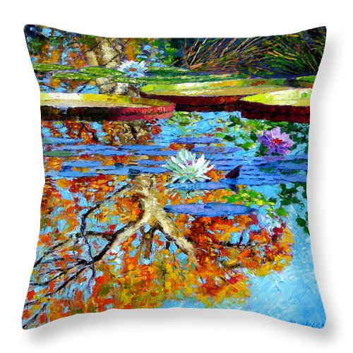 Fall Throw Pillow featuring the painting The Reflections Of Fall by John Lautermilch