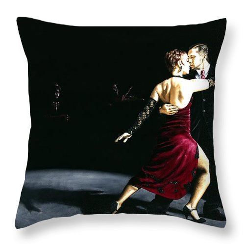 Tango Throw Pillow featuring the painting The Rhythm Of Tango by Richard Young
