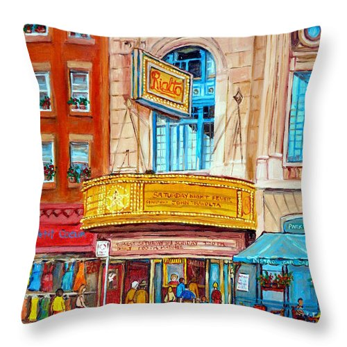 Montreal Throw Pillow featuring the painting The Rialto Theatre Montreal by Carole Spandau