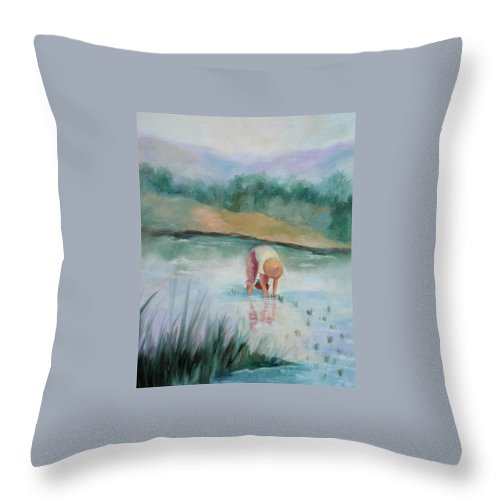Figurative Throw Pillow featuring the painting The Rice Planter by Ginger Concepcion