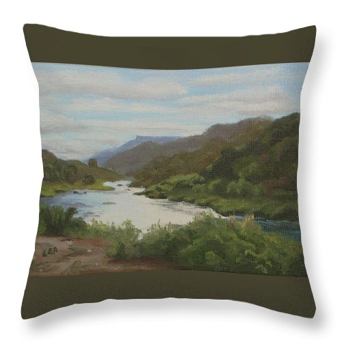 Landscape Throw Pillow featuring the painting The Rio Grande Between Taos And Santa Fe by Lea Novak
