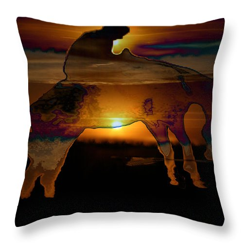 Cowboy Horse Bronc Rider Rodeo Sunrise Skyline Skyscape Sun Clouds Rider Throw Pillow featuring the photograph The Ripple Effect by Andrea Lawrence