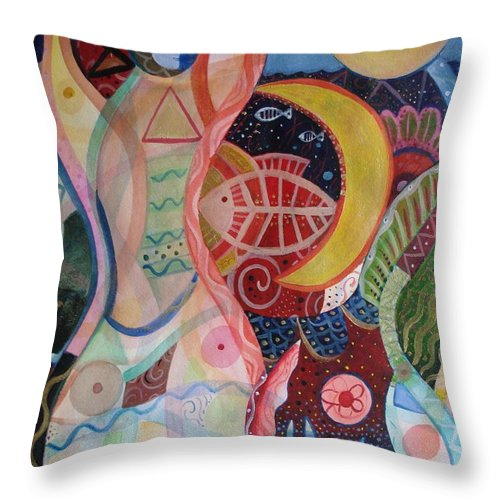 Cycles Throw Pillow featuring the painting The Ritual by Helena Tiainen