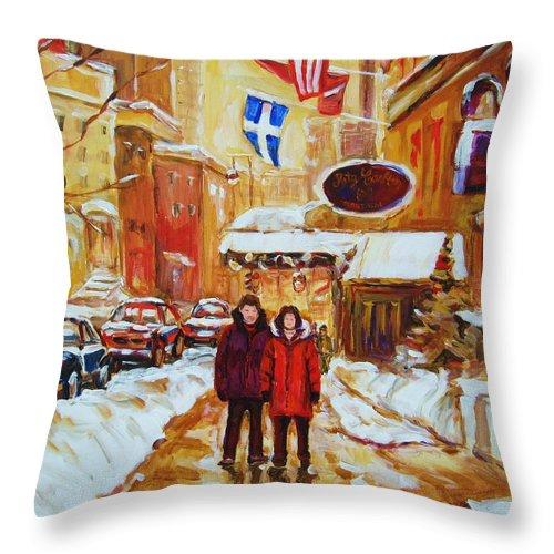 Streetscene Throw Pillow featuring the painting The Ritz Carlton by Carole Spandau