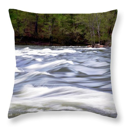 Whitewater Throw Pillow featuring the photograph The River by Amburr Drury