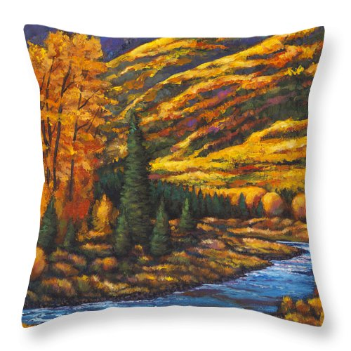 Landscape Throw Pillow featuring the painting The River Runs by Johnathan Harris
