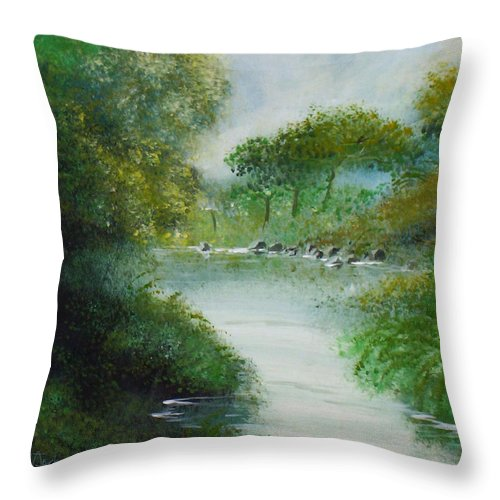 River Water Trees Clouds Leaves Nature Green Throw Pillow featuring the painting The River by Veronica Jackson
