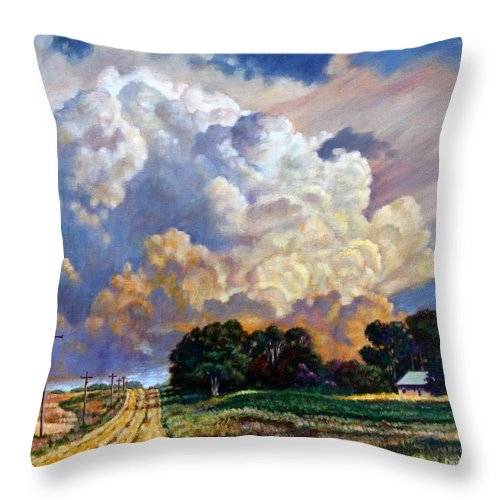 Landscape Throw Pillow featuring the painting The Road Home by John Lautermilch