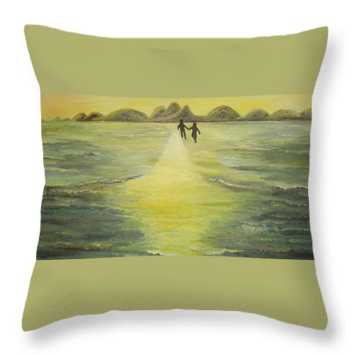 Soul Throw Pillow featuring the painting The Road In The Ocean Of Light by Karina Ishkhanova