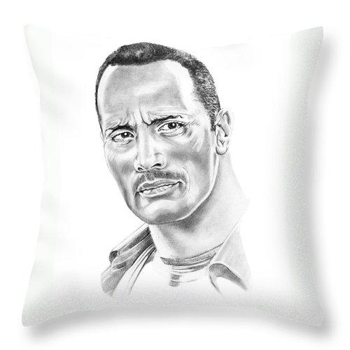 Pencil Throw Pillow featuring the drawing The Roc  Dwain Johnson by Murphy Elliott