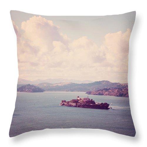 San Francisco Photography Throw Pillow featuring the photograph The Rock - Alcatraz San Francisco Photograph by Melanie Alexandra Price
