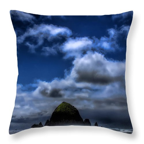 Cannon Beach Throw Pillow featuring the photograph The Rock by David Patterson