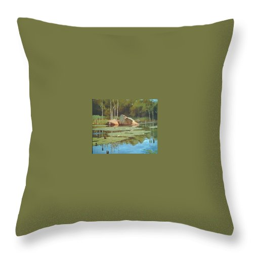 Landscape Throw Pillow featuring the painting The Rock by Dianne Panarelli Miller