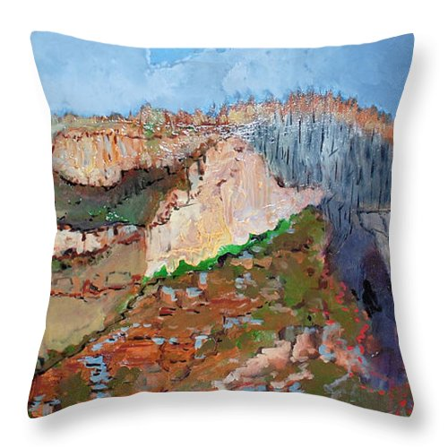 Mountains Throw Pillow featuring the painting The Rockies by Kurt Hausmann