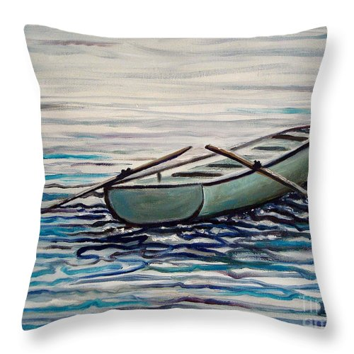 Water Throw Pillow featuring the painting The Row Boat by Elizabeth Robinette Tyndall