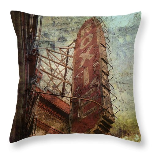 Roxie Sign San Fransisco Ca Architecture Detail Throw Pillow featuring the photograph The Roxie by Monique Cousineau