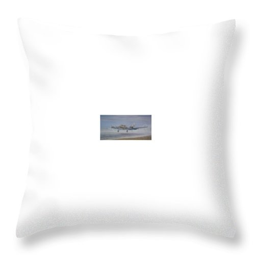 The Only Survivor Of The 100th Bomb Group On The October 10 Throw Pillow featuring the painting The Royal Flush Comes Home by Scott Robertson