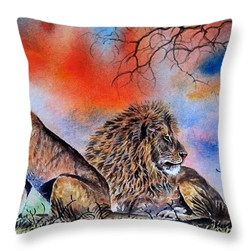Lions Throw Pillow featuring the painting The Royal Lions Of The Mara by William Mutua