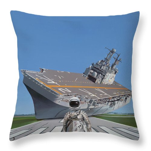 Astronaut Throw Pillow featuring the painting The Runway by Scott Listfield