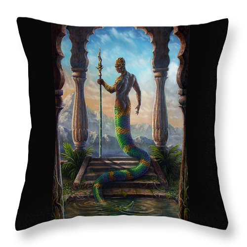 Fantasy Throw Pillow featuring the painting The Sacred Pool by Carol Phillips